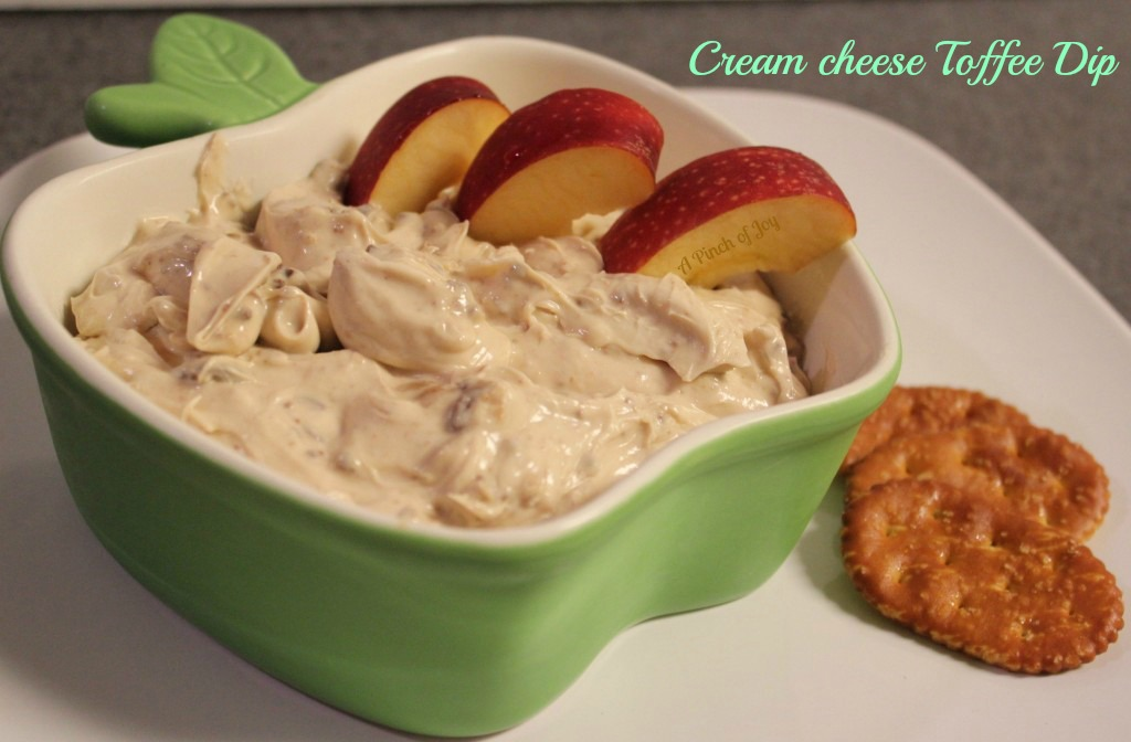 Cream Cheese Toffee Dip - A Pinch of Joy
