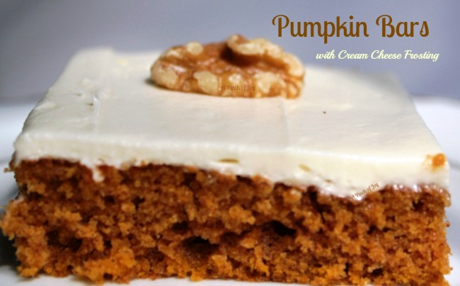 Pumpkin Bar with Cream Cheese Frosting - A Pinch of Joy