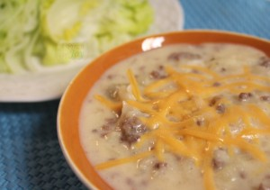 Cheeseburger Soup with extra cheese on top