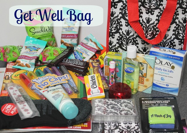 Bag packed with small comfort items for someone who is ill
