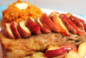 Crockpot pork loin with sweet potato and fried apples