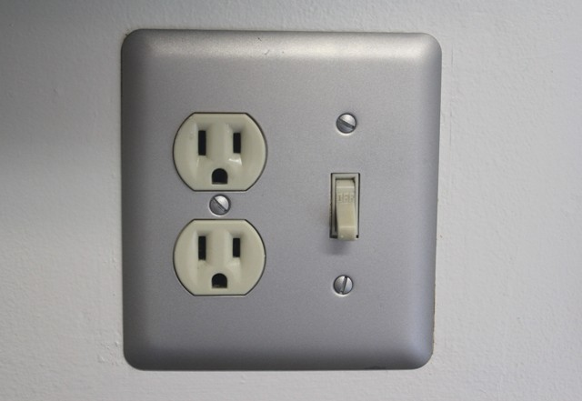 Matte Nickel spraypainted switch plate