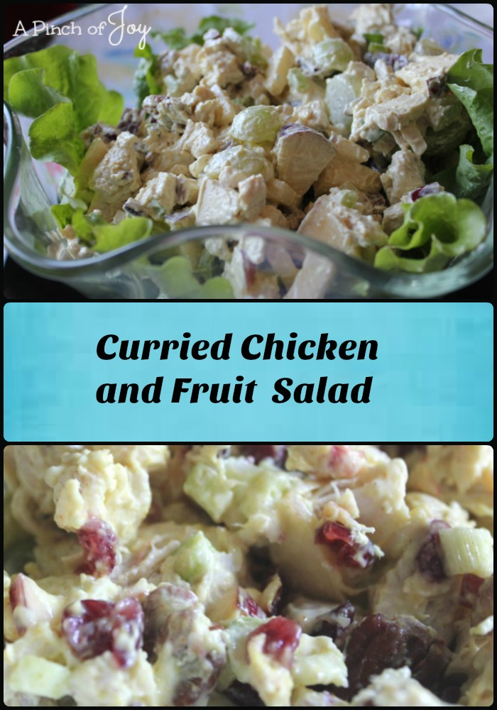 curried-chicken-and-fruit-salad-a-pinch-of-joy. A uniquely delicate flavored salad that can be served so many ways!