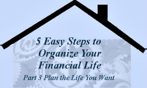 Part 3-Plan the Life You Want - 5 Easy Steps to Organize Your Financial Life Series -- A Pinch of Joy