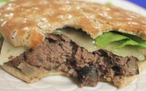 Burger made with mushroom and onion