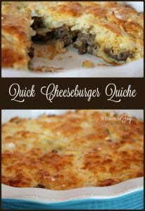 Quick Cheeseburger Quiche -- A Pinch of Joy A quick and easy dish low with 13 grams of carb and 22 grams of protein per serving.