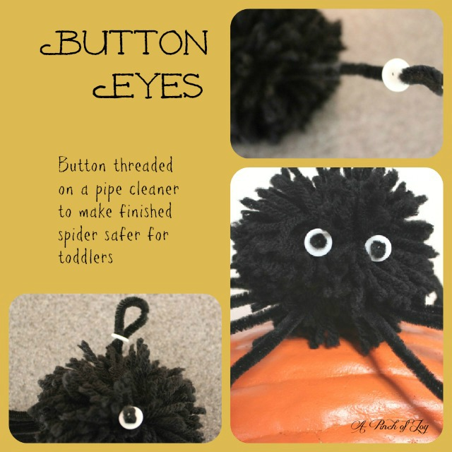 Making Button Eyes for yarn and pipecleaner pompom spider