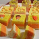 White, yellow and orange striped fudge that looks like candy corn