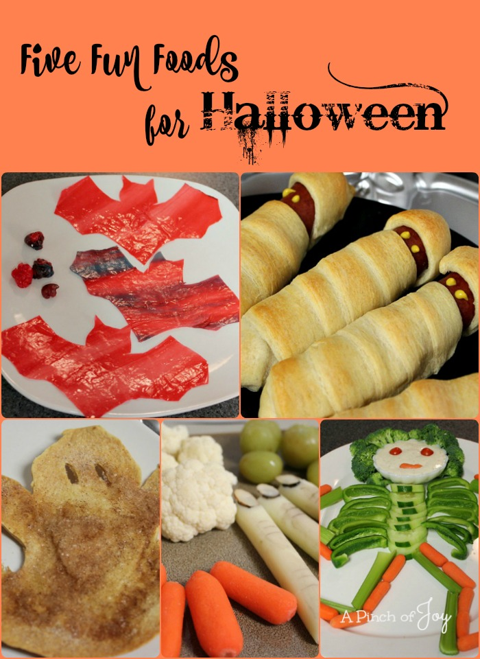 five-fun-foods-for-halloween-a-pinch-of-joy  Mummy Brats, Veggie Boy, Troll Toes and Witches Fingers.  Spooky!