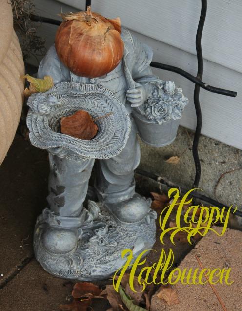 Happy Halloween onion head gardener
