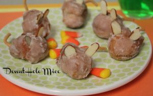 Mice made from donut holes A Pinch of Joy