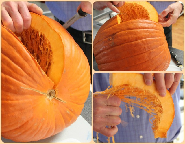 Cutting up a pumpkin to make puree