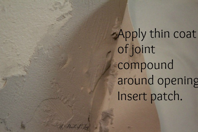 Add layer of joint compound and insert drywall patch