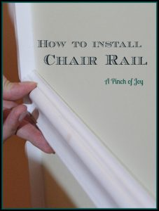 How to Install a Chair Rail -- A Pinch of Joy