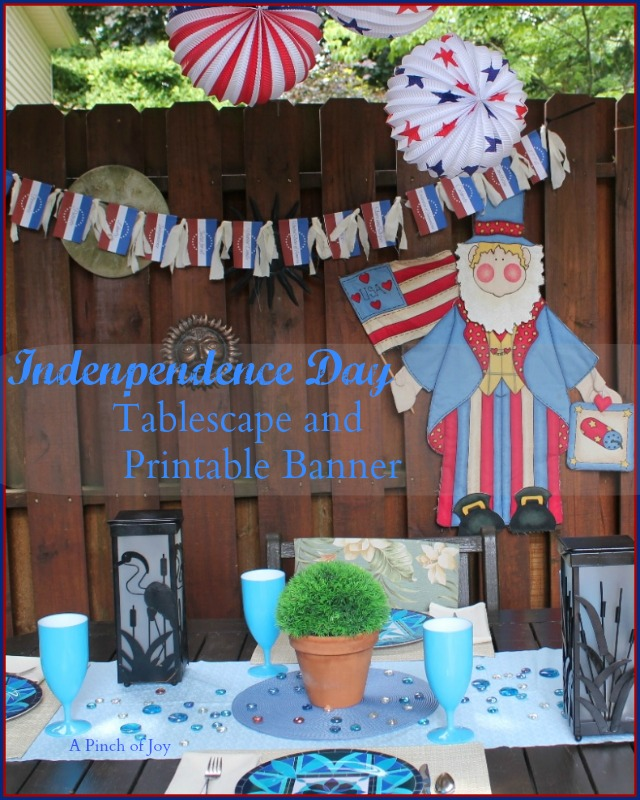 Patriotic Tablescape and free printable Americana Banner -- A Pinch of Joy