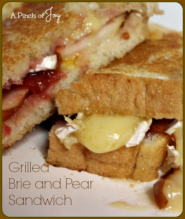 Grilled Brie and Pear Sandwich from A Pinch of Joy