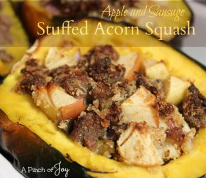 Apple and Sausage Stuffed Acorn Squash from A Pinch of Joy