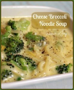 Cheese Broccoli Noodle Soup -- A Pinch of Joy
