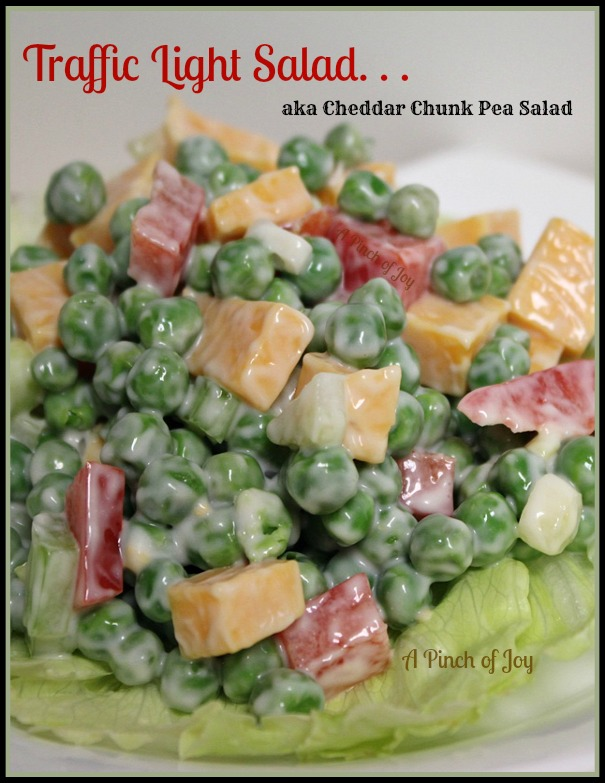 Traffic Light Salad aka Cheddar Chunk Pea Salad A Pinch of Joy
