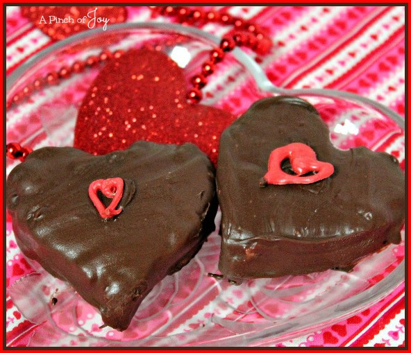 Chocolate covered Macaroon hearts -- A Pinch of Joy