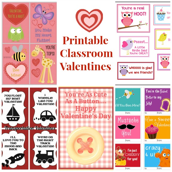 Printable Classroom Valentines -  A Roundup