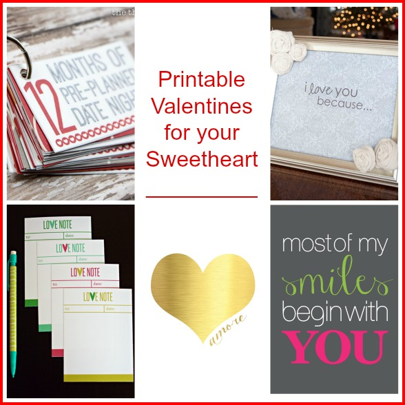 Sweetheart Valentine Printables -- A Pinch of Joy roundup