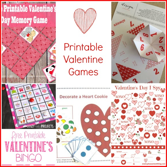 Printable Valentine Games -- Roundup by A Pinch of Joy