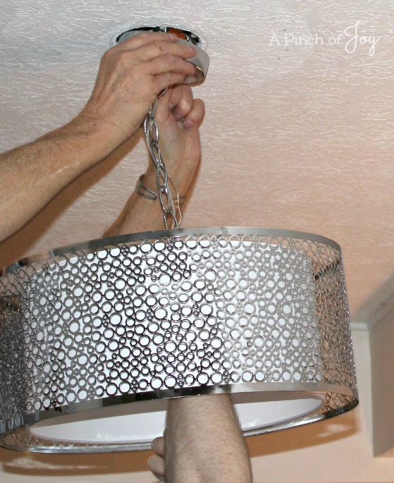 Fasten Light Fixture to ceiling -- A Pinch of Joy