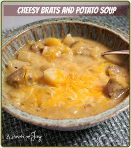 Slowcooker Cheesy Brats and Potato Soup