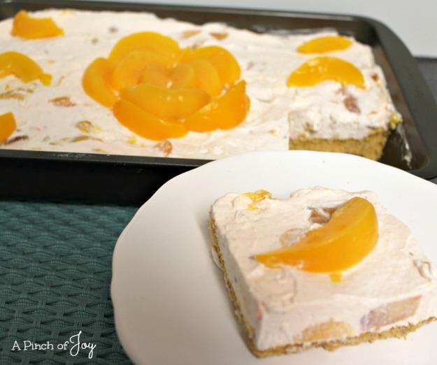 Peaches and Cream Cheesecake3 -- A Pinch of Joy