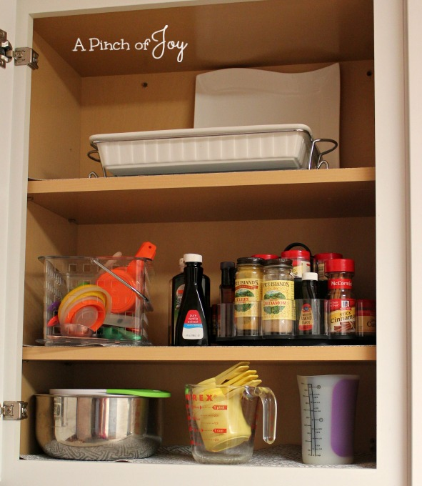 Upper Cabinet Baking Storage -- A Pinch of Joy