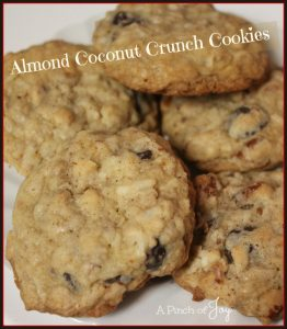 Almond Coconut Crunch Cookies -- A Pinch of Joy