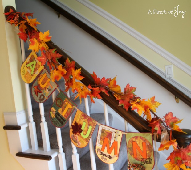 Autumn Banner on stair rail -- A Pinch of Joy