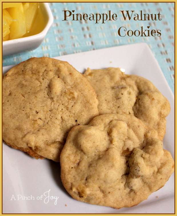 Pineapple Walnut Cookies -- A Pinch of Joy