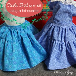 Fiesta Skirt for 18″ doll using fat quarter