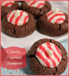 Peppermint Chocolate Thumbprints -- A Pinch of Joy