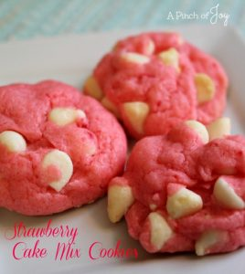 Strawberry Cake Mix Cookies with white chocolate chips