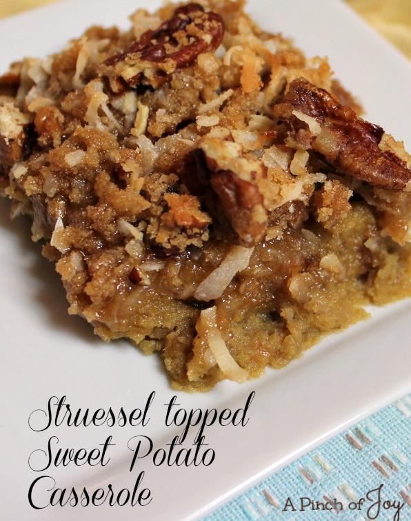 Struessel Topped Sweet Potato Casserole - A Pinch of Joy