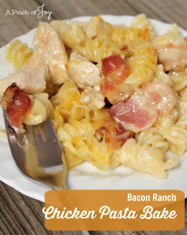 Bacon Ranch Chicken Pasta casserole -- A Pinch of Joy