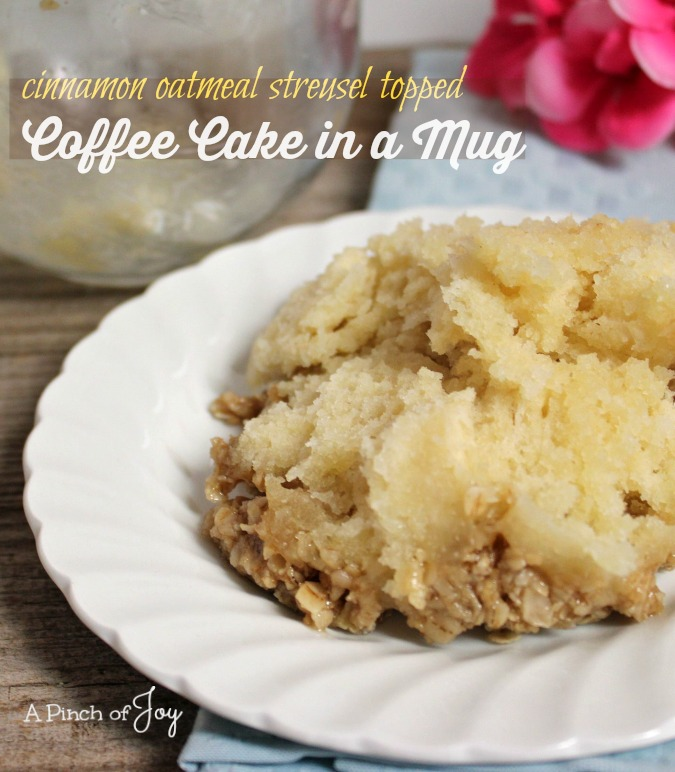 Coffee Cake in a Mug with cinnamon oatmeal struesel topping -- A Pinch of Joy
