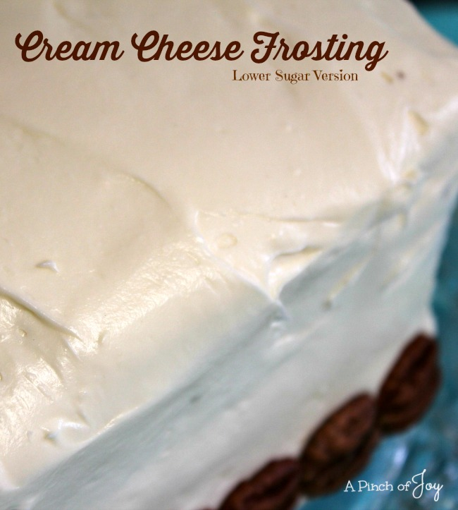 Cream Cheese Frosting (lower sugar version) -- A Pinch of Joy