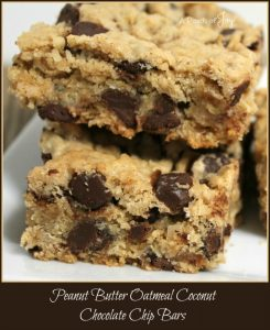 Peanut Butter Oatmeal Coconut Chocolate Chip Bars -- A Pinch of Joy