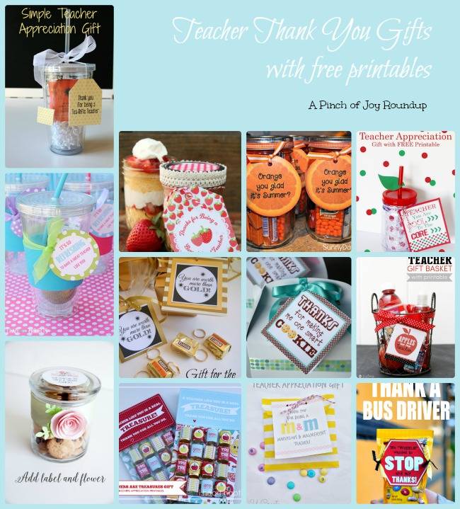 Teacher Thank You Gifts with printables- A Pinch of Joy roundup