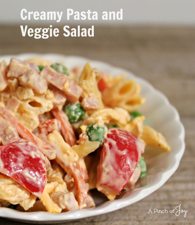 Creamy Pasta and Veggie Salad -- A Pinch of Joy