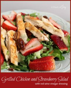 Grilled Chicken and Strawberry Salad with red wine vinegar dressing