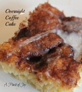 "Overnight Cinnamon Coffee Cake -- A Pinch of Joy Spicy cinnamon sugar atop a light, fluffly sweet dough -- cinnamon rolls without the ""roll"" and fuss."
