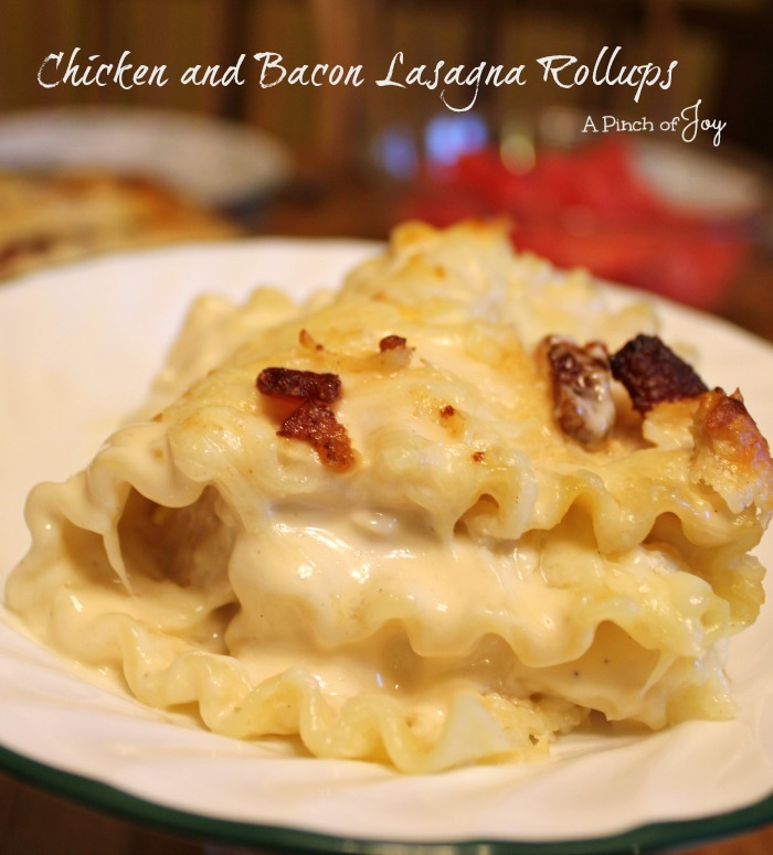 Chicken and Bacon Lasagna Rollups -- A Pinch of Joy