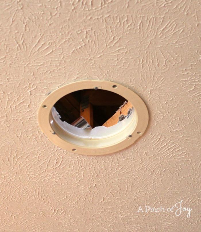 Hole in the ceiling for solar light tube