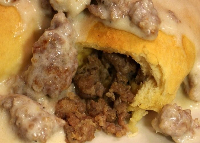Stuffed Sausage Biscuits and Gravy