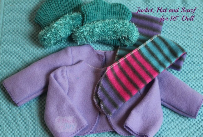 American Girl Doll clothes jacket, hat, scarf -- A Pinch of Joy